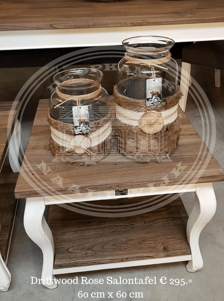 Landelijke Salontafel 60x60.Driftwood Rose Queen Ann Atelier De Brocante Opkamer B V